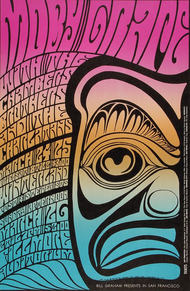 "Moby Grape Poster from Winterland on 24 Mar 67: 13 3/4"" x 21"""