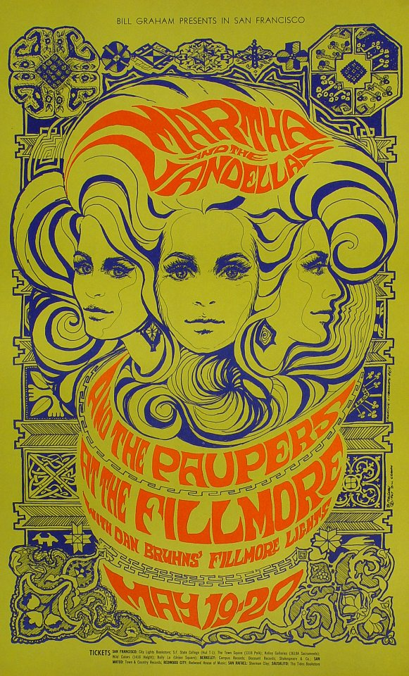 "Martha & the Vandellas Poster from Fillmore Auditorium on 19 May 67: 14"" x 23"""