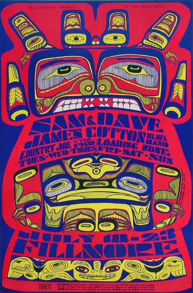 "Sam & Dave Poster from Fillmore Auditorium on 18 Jul 67: 14"" x 21"""