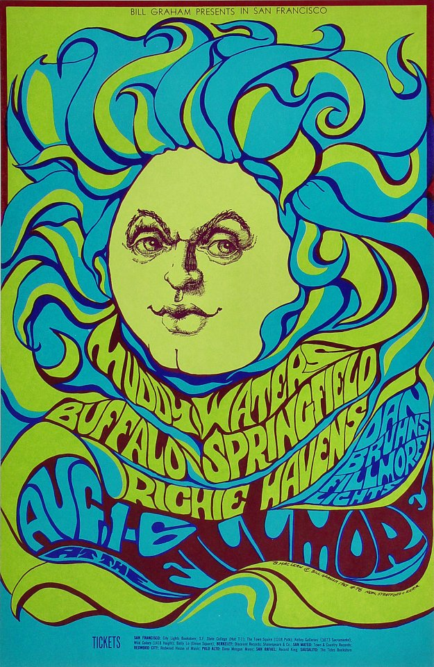 "Muddy Waters Poster from Fillmore Auditorium on 01 Aug 67: 13 15/16"" x 21 7/16"""