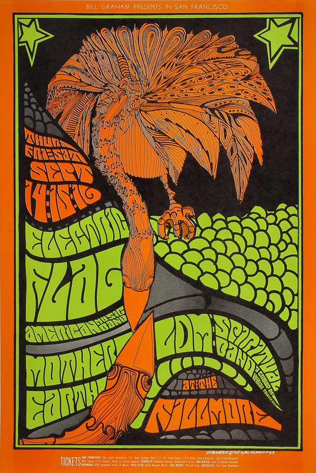 "Electric Flag Poster from Fillmore Auditorium on 14 Sep 67: 14 1/8"" x 21"""