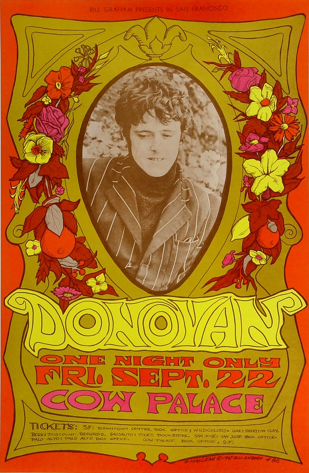 "Donovan Poster from Cow Palace on 22 Sep 67: 14"" x 21 1/8"""