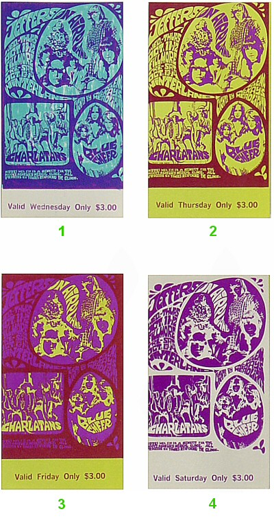 Jefferson Airplane 1960s Ticket from Fillmore Auditorium on 11 Oct 67: Complete Set