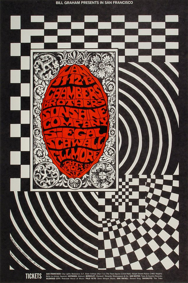 "The Chambers Brothers Poster from Fillmore Auditorium on 11 Jan 68: 14"" x 21"""