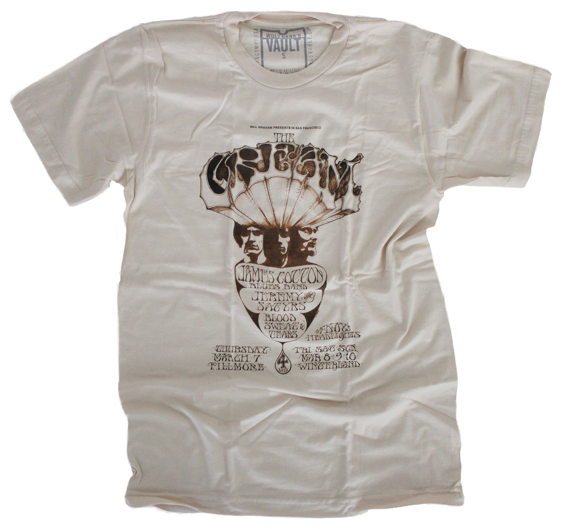 Cream Men's Retro T-Shirt from Fillmore Auditorium on 07 Mar 68: Small