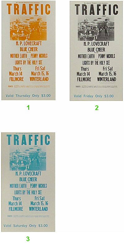 Traffic 1960s Ticket from Fillmore Auditorium on 14 Mar 68: Ticket Two