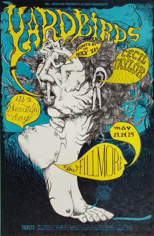"Yardbirds Poster from Fillmore Auditorium on 23 May 68: 14"" x 21 1/8"""