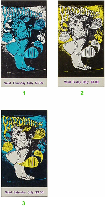 Yardbirds 1960s Ticket from Fillmore Auditorium on 23 May 68: Complete Set