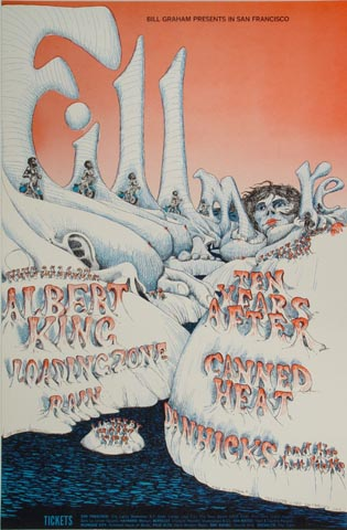 "Albert King Handbill from Fillmore Auditorium on 25 Jun 68: 4 5/8"" x 7 1/4"""