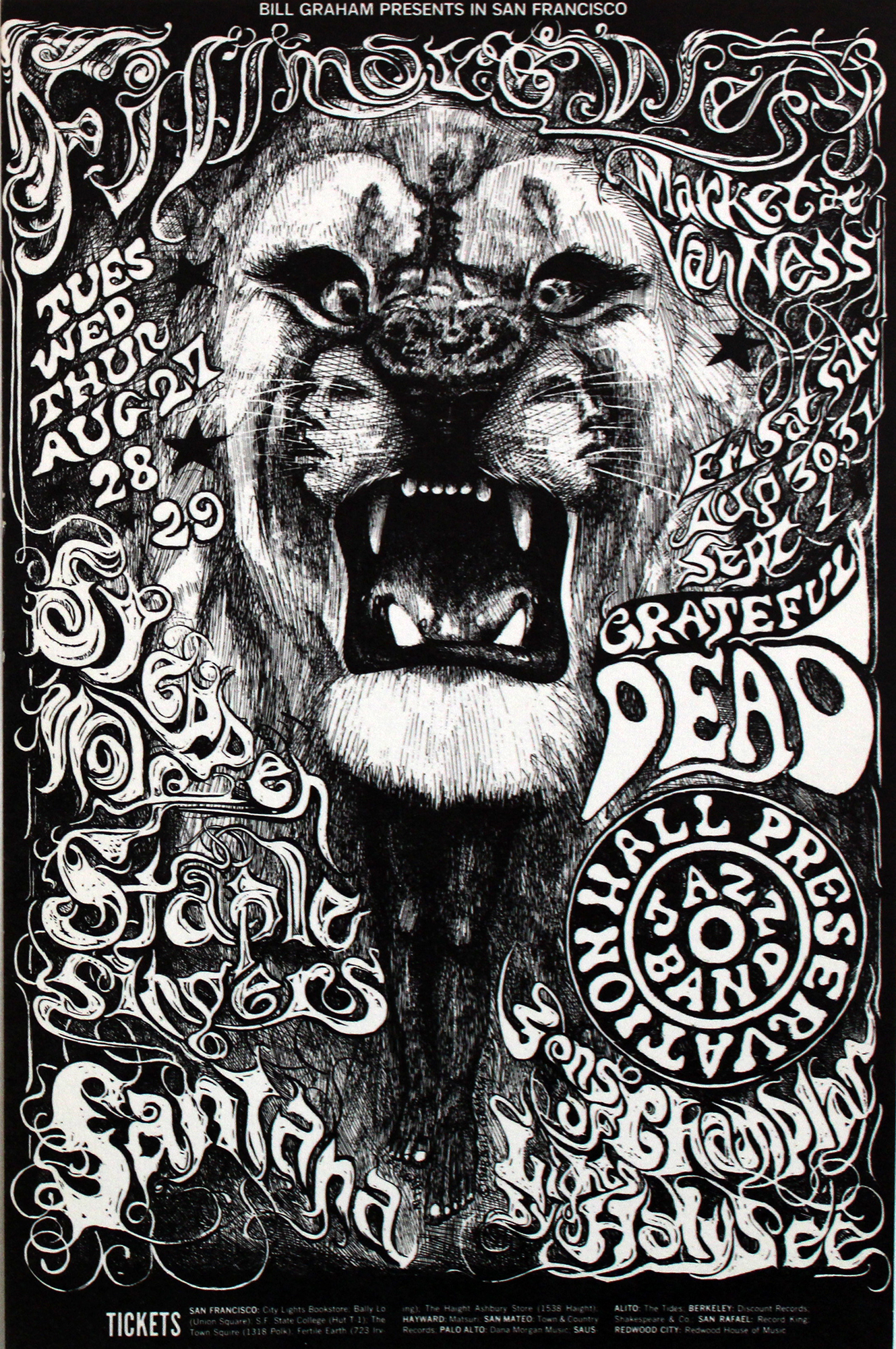"Steppenwolf Postcard from Fillmore West on 27 Aug 68: 4 11/16"" x 7"""
