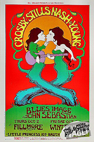"Crosby, Stills, Nash & Young Poster from Fillmore West on 02 Oct 69: 13"" x 19 9/16"""
