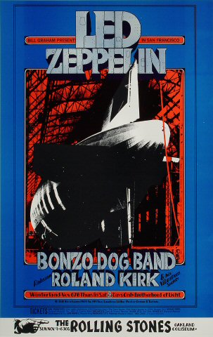 "Led Zeppelin Poster from Winterland on 06 Nov 69: 20 3/8"" x 32 1/2"""