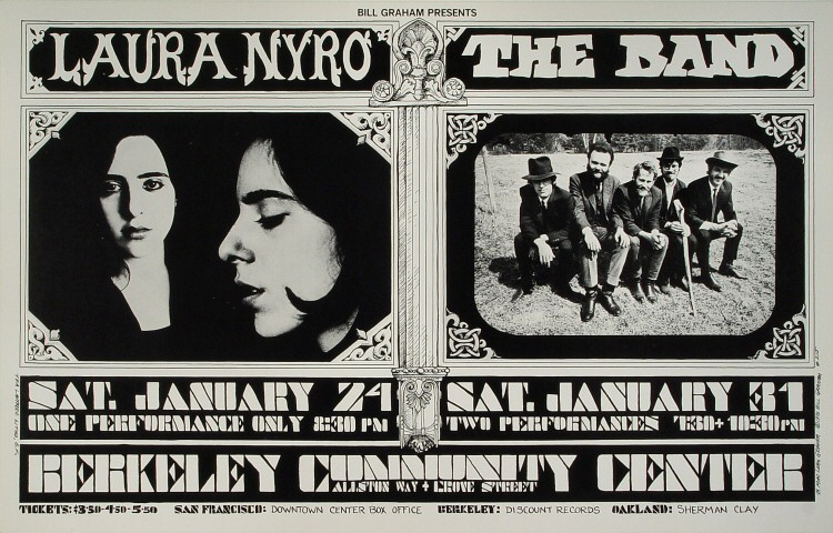 "Laura Nyro Poster from Berkeley Community Theatre on 24 Jan 70: 14 1/16"" x 22 1/16"""