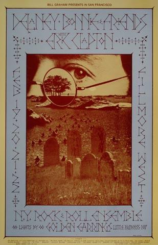 """Delaney & Bonnie Handbill from Fillmore West on 19 Feb 70: 4 5/8"""" x 7 1/8"""""""