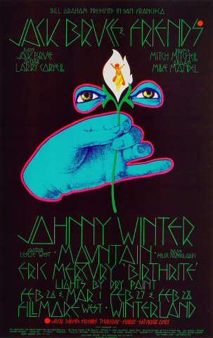 "Jack Bruce Poster from Fillmore West on 26 Feb 70: 13 7/8"" x 21 15/16"""
