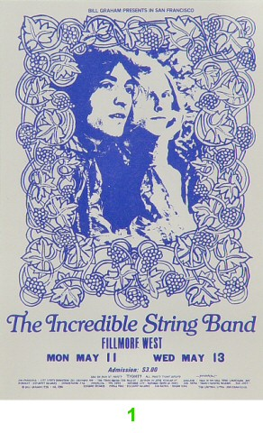 The Incredible String Band 1970s Ticket from Fillmore West on 11 May 70: Ticket One
