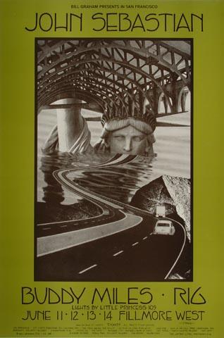 """John Sebastian Handbill from Fillmore West on 11 Jun 70: 4 5/8"""" x 7"""""""