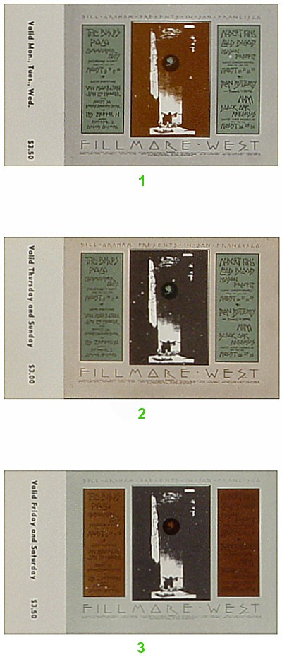 The Byrds 1970s Ticket from Fillmore West on 13 Aug 70: Complete Set