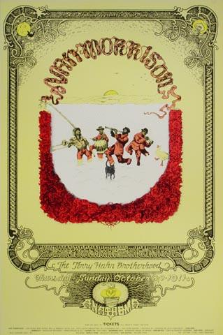 """Van Morrison Handbill from Fillmore West on 08 Oct 70: 4 11/16"""" x 7"""""""
