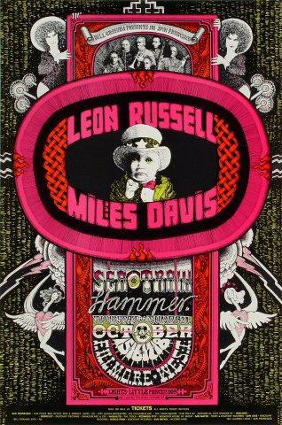"Leon Russell Poster from Fillmore West on 15 Oct 70: 14"" x 21 1/8"""