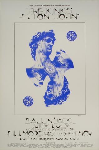 "The Kinks Handbill from Fillmore West on 12 Nov 70: 4 5/8"" x 7"""
