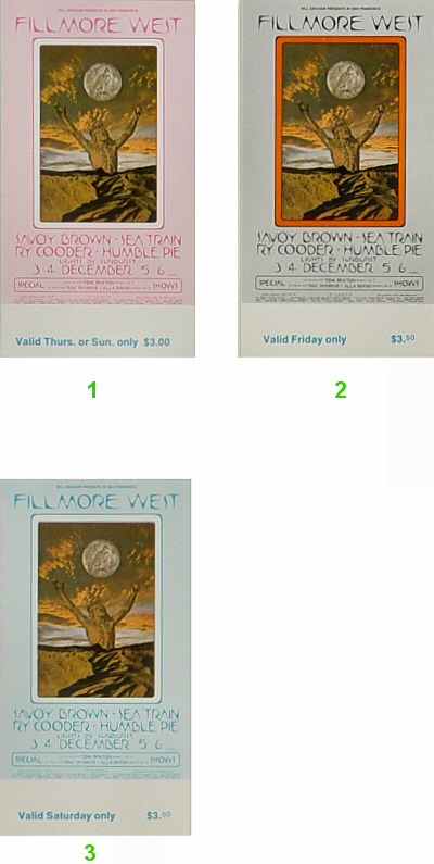 Savoy Brown 1970s Ticket from Fillmore West on 03 Dec 70: Complete Set