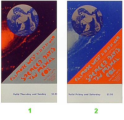 Spencer Davis 1970s Ticket from Fillmore West on 21 Jan 71: Complete Set