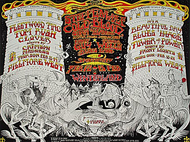 "Fleetwood Mac Handbill from Fillmore West on 11 Feb 71: 7"" x 9 1/4"""