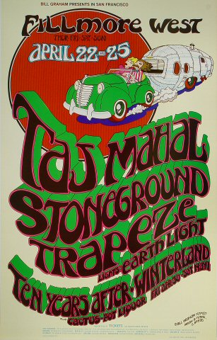 "Taj Mahal Poster from Fillmore West on 22 Apr 71: 13 15/16"" x 21 15/16"""