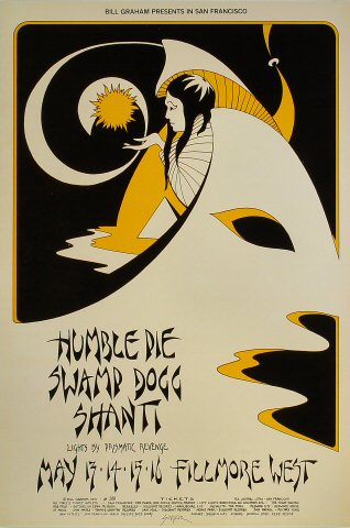 "Humble Pie Poster from Fillmore West on 13 May 71: 14"" x 20 15/16"""