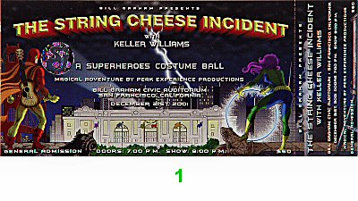 String Cheese Incident Post 2000 Ticket from Bill Graham Civic Auditorium on 31 Dec 01: Ticket One