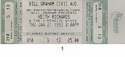 Keith Richards 1990s Ticket from Bill Graham Civic Auditorium on 21 Jan 93: Ticket One