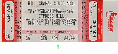 Cypress Hill 1990s Ticket from Bill Graham Civic Auditorium on 24 Oct 93: Ticket One