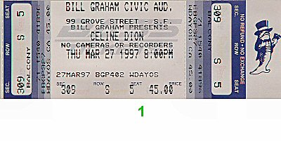 Celine Dion 1990s Ticket from Bill Graham Civic Auditorium on 27 Mar 97: Ticket One