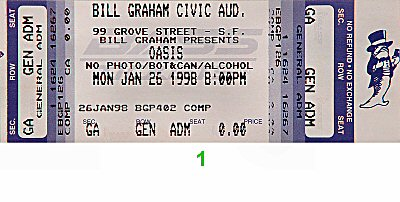 Oasis 1990s Ticket from Bill Graham Civic Auditorium on 26 Jan 98: Ticket One