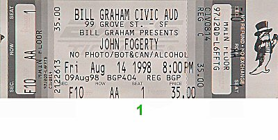 John Fogerty 1990s Ticket from Bill Graham Civic Auditorium on 14 Aug 98: Ticket One