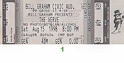 The Verve 1990s Ticket from Bill Graham Civic Auditorium on 15 Aug 98: Ticket One