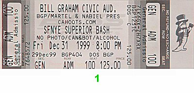 The Pretenders 1990s Ticket from Bill Graham Civic Auditorium on 31 Dec 99: Ticket One
