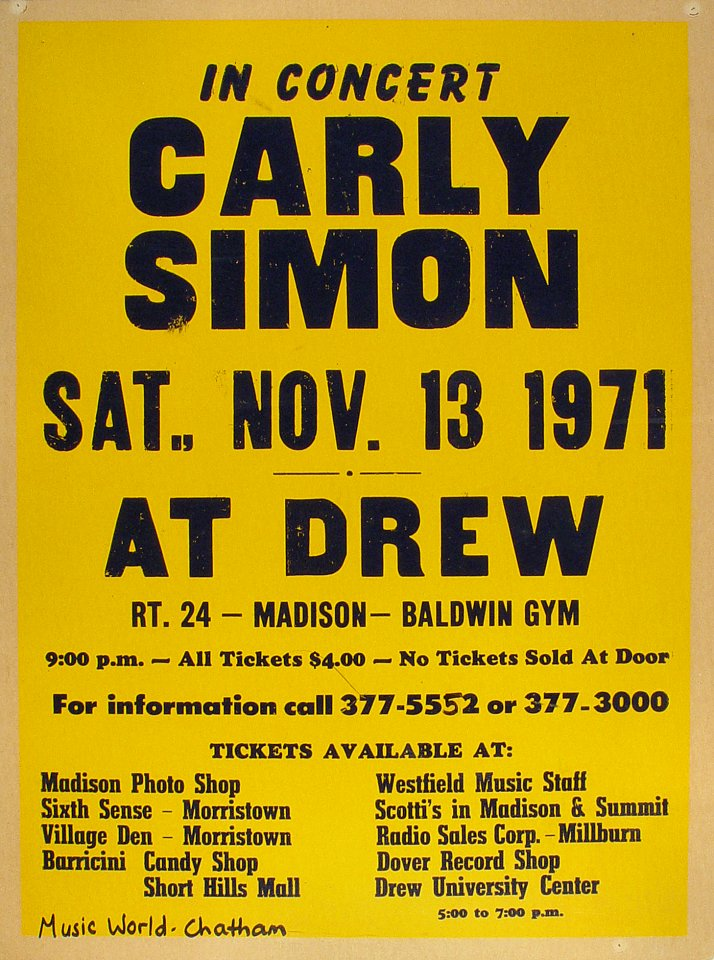 "Carly Simon Poster from Baldwin Gym, Drew University on 13 Nov 71: 18 1/8"" x 24 3/8"""