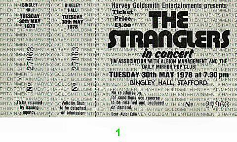 The Stranglers 1970s Ticket from New Bingley Hall on 30 May 78: Ticket One