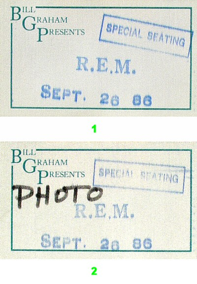 R.E.M. Backstage Pass from Greek Theatre on 26 Sep 86: Pass 1