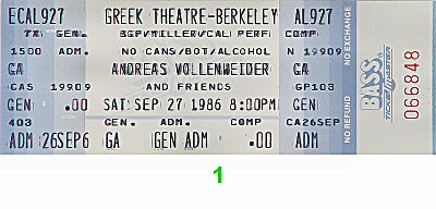 Andreas Vollenweider 1980s Ticket from Greek Theatre on 27 Sep 86: Ticket One