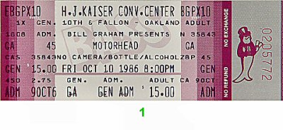 Motorhead 1980s Ticket from Henry J. Kaiser Auditorium on 10 Oct 86: Ticket One