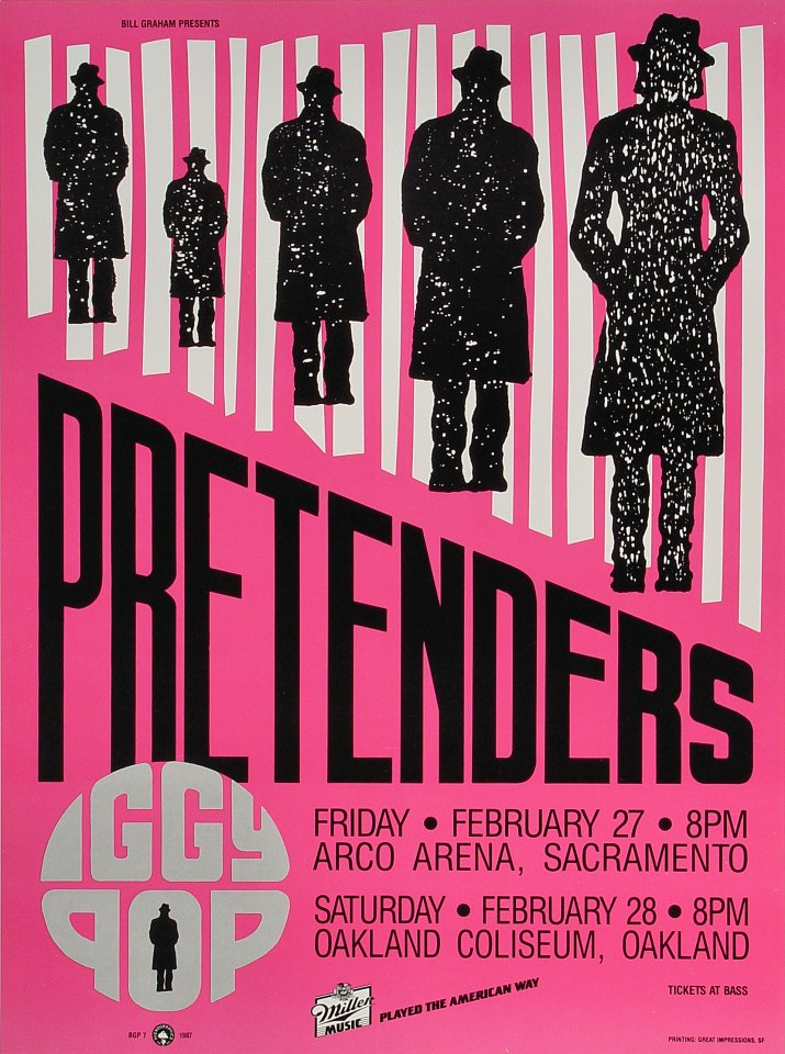 "The Pretenders Poster from Arco Arena on 27 Feb 87: 13 1/2"" x 18 1/4"""