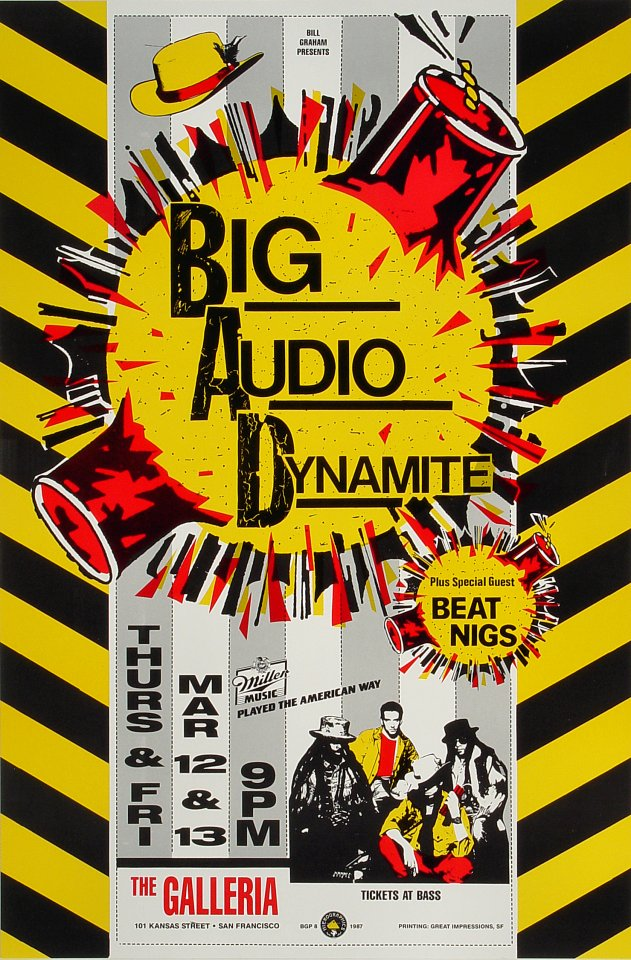 "Big Audio Dynamite Poster from Galleria on 12 Mar 87: 12"" x 18 1/4"""