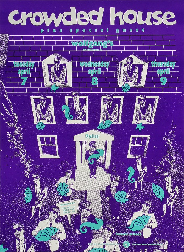 "Crowded House Poster from Wolfgang's on 07 Apr 87: 13 1/4"" x 18"""