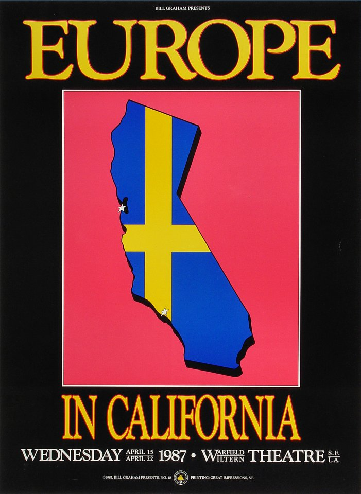 "Europe Poster from Warfield Theatre on 15 Apr 87: 13 1/4"" x 18 1/4"""