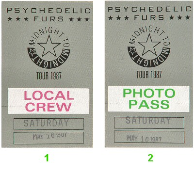 The Psychedelic Furs Backstage Pass from Warfield Theatre on 16 May 87: Pass 1