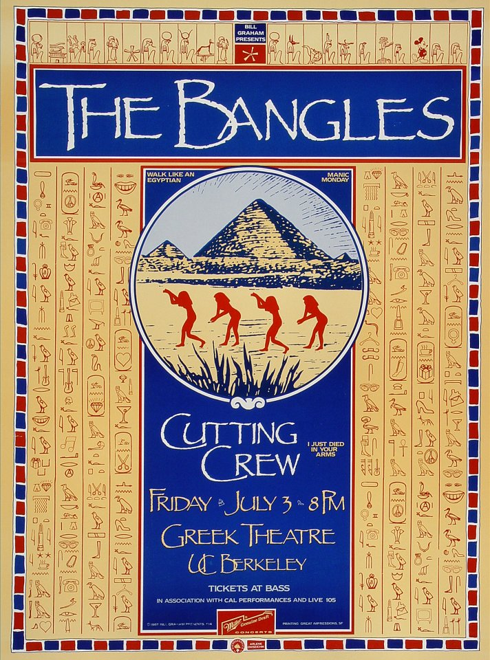 "The Bangles Proof from Greek Theatre on 03 Jul 87: 14"" x 19"""