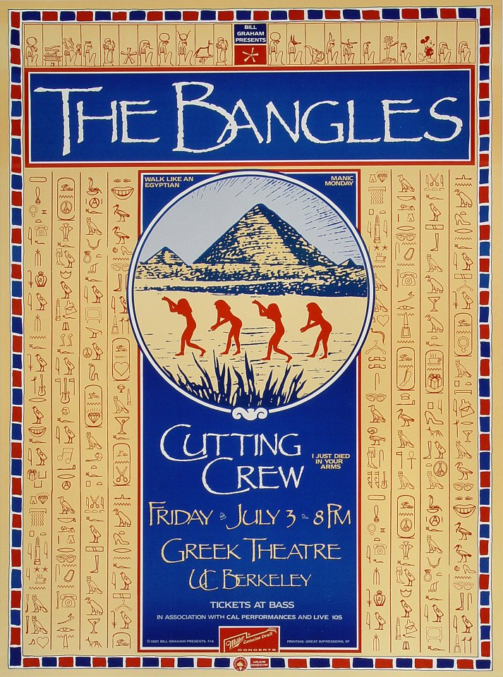 "The Bangles Poster from Greek Theatre on 03 Jul 87: 13 1/4"" x 18"""